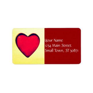 素朴な赤いハートのバレンタインデー愛 ラベル