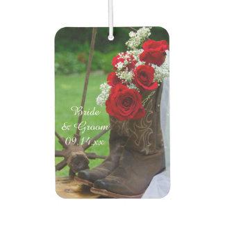 素朴な赤いバラおよびカウボーイ・ブーツの国の結婚式 カーエアーフレッシュナー