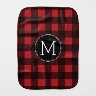 素朴な赤く及び黒いバッファローの格子縞パターンモノグラム バープクロス