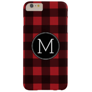 素朴な赤く及び黒いバッファローの格子縞パターンモノグラム BARELY THERE iPhone 6 PLUS ケース