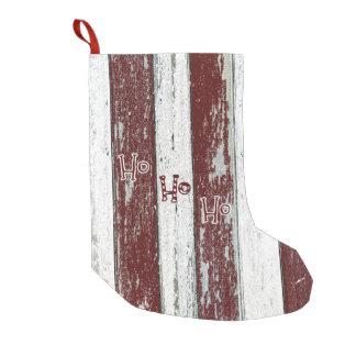 素朴な赤と白のストライプのHo Ho Ho スモールクリスマスストッキング