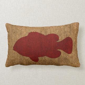 素朴な赤の航海のな魚 ランバークッション