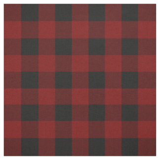 素朴な赤 の黒いバッファローの点検の格子縞パターン ファブリック