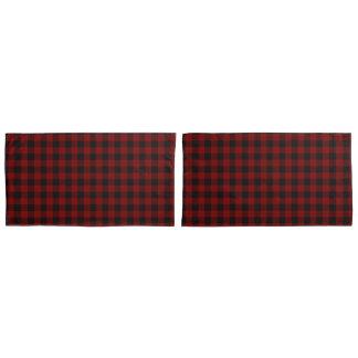 素朴な赤|の黒いバッファローの点検の格子縞パターン 枕カバー