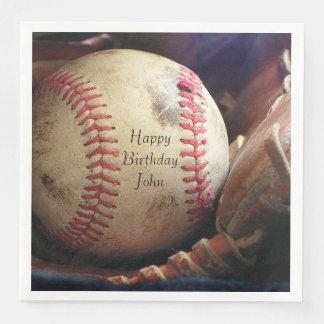素朴な野球のハッピーバースデーの名前のナプキン