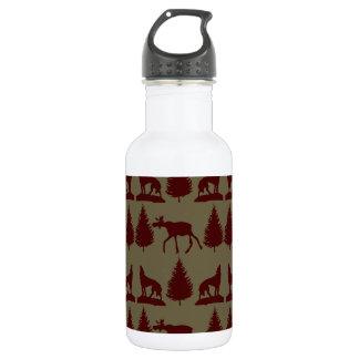 素朴な野生のアメリカヘラジカのオオカミの荒野山の小屋 ウォーターボトル