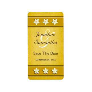 素朴な金ゴールドの花柄の保存日付のワインのラベル 宛名ラベル