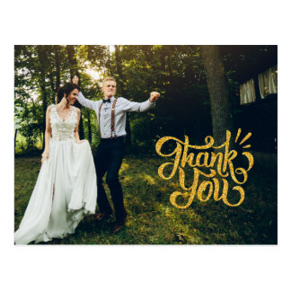素朴な金ゴールドの輝きの結婚式は郵便はがき感謝していしています ポストカード