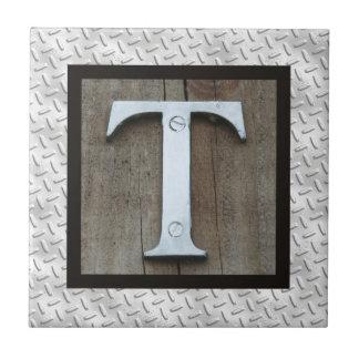 素朴な銀製の金属の鋼鉄手紙Lダイヤモンドのプレート タイル