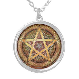 素朴な銅色の星形五角形 シルバープレートネックレス