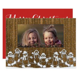 素朴な雪だるま家族のメリークリスマスカード 12.7 X 17.8 インビテーションカード