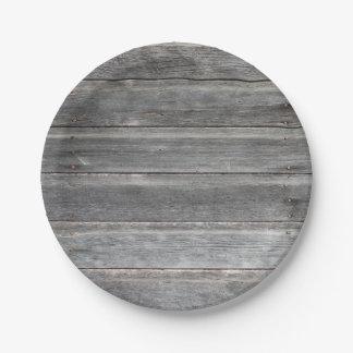 素朴な風化させた木製の壁 ペーパープレート