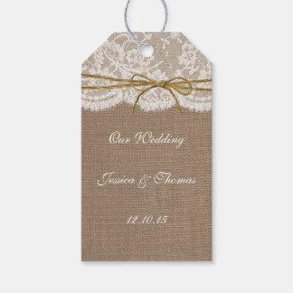 素朴な麻ひもの弓結婚式のコレクション ギフトタグパック