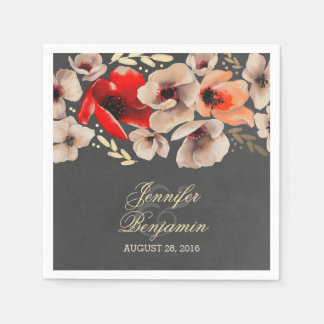 素朴な黒板の花のリースのBohoの結婚式 スタンダードカクテルナプキン
