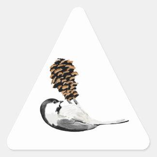 素朴な《鳥》アメリカゴガラおよび作成されるpinecone手 三角形シール