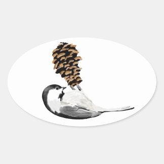 素朴な《鳥》アメリカゴガラおよび作成されるpinecone手 楕円形シール