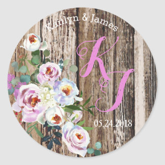 素朴なBohoのシックな花のリースの結婚式のラベル ラウンドシール