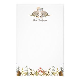 素朴なBohoの森林カワウソの水彩画の結婚式 便箋