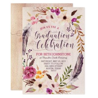 素朴なBohoの花のリースの卒業の招待状 カード