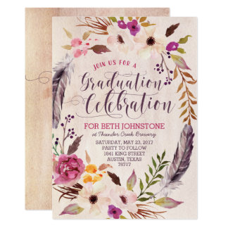 素朴なBohoの花のリースの卒業の招待状 12.7 X 17.8 インビテーションカード