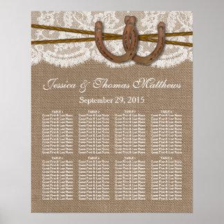 素朴なHorsesheの結婚式のコレクションの座席 ポスター