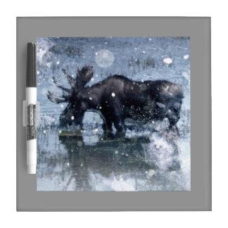 素朴なoutdoorsmanの荒野の野性生物の雄牛のアメリカヘラジカ ホワイトボード