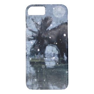 素朴なoutdoorsmanの荒野の野性生物の雄牛のアメリカヘラジカ iPhone 8/7ケース