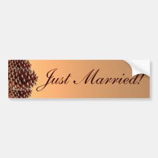 素朴なpineconeの秋のたった今結婚しましたのバンパーステッカー バンパーステッカー