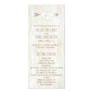素朴なWoodgrainの結婚式プログラム カード