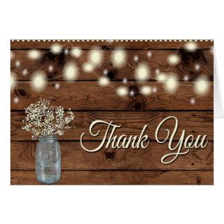 素朴のメーソンジャー、花柄感謝していしていますありがとう カード