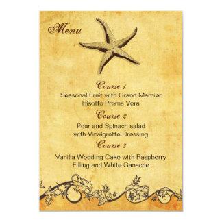 素朴|ヒトデ|ビーチ|結婚|メニュー|カード 12.7 X 17.8 インビテーションカード