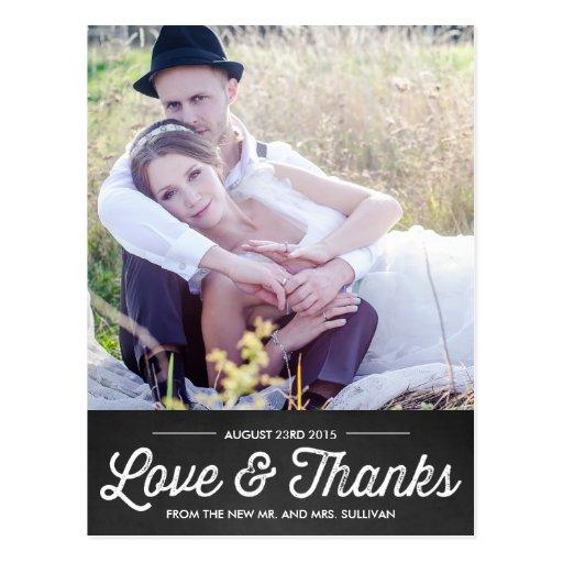 素朴 黒板 結婚 感謝していして下さい  郵便はがき ポストカード
