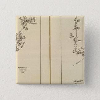 索引図アルバニー、Saratoga Springs 5.1cm 正方形バッジ