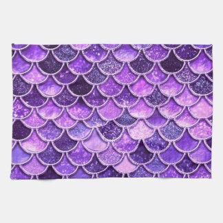 紫外グリッターの人魚のスケール キッチンタオル