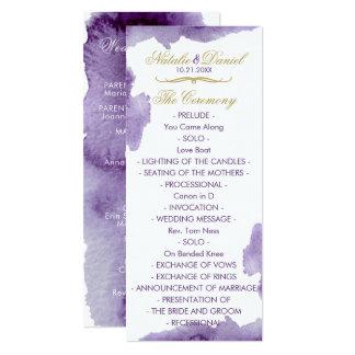 紫外水彩画の結婚式プログラム カード