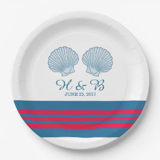 紫系統の航海のな貝殻の紙皿 ペーパープレート