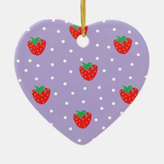 紫色いちごおよび水玉模様 セラミックオーナメント