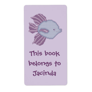 紫色およびすみれ色の熱帯魚の蔵書票 ラベル