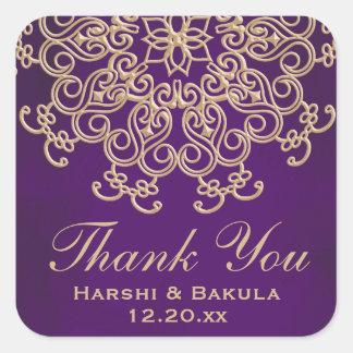 紫色およびインスパイア金ゴールドのインディアンはラベル感謝していしています スクエアシール