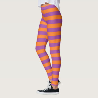 紫色およびオレンジは縞で飾ります レギンス