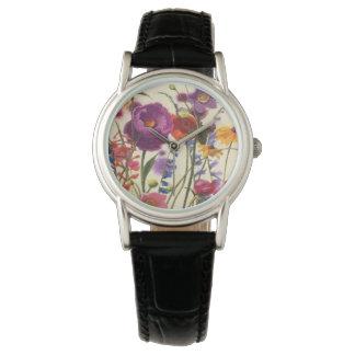 紫色およびオレンジケシのメロディー 腕時計