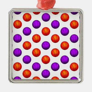 紫色およびオレンジバスケットボールパターン メタルオーナメント