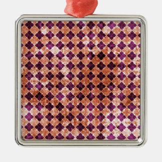 紫色およびオレンジファンキーなパターン メタルオーナメント