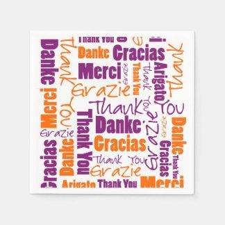 紫色およびオレンジ多言語は感謝していしています スタンダードカクテルナプキン