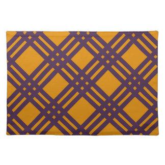 紫色およびオレンジ格子 ランチョンマット