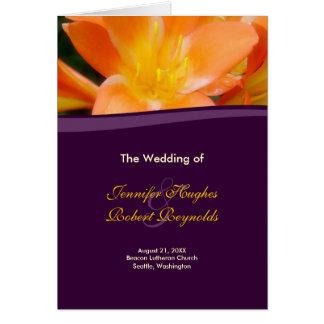 紫色およびオレンジ結婚式プログラムプログラム・カード カード