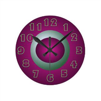 紫色およびターコイズの時計デザイナー装飾のおもしろい ラウンド壁時計