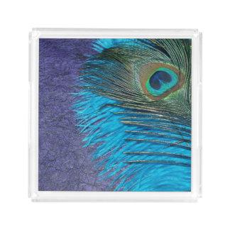 紫色およびティール(緑がかった色)の孔雀 アクリルトレー