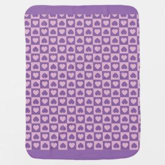 紫色およびピンクのハートのベビーブランケット ベビー ブランケット