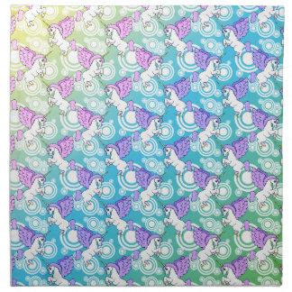 紫色およびピンクのユニコーンパターン ナプキンクロス